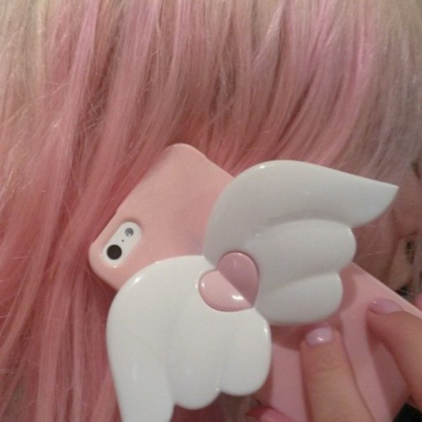 phone cover iphone iphone case phone cover kawaii pastel pastel pink angel wigs pink cover pale grunge pastel grunge wings angel iphone 5 case beautiful love girl girly angel wings purple white heart