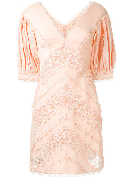 Zimmermann dress embroidered women silk purple pink