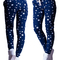 Lady's warm stars printed cotton three-thread pants