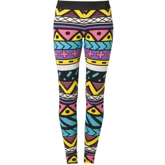 colorful pink yellow purple lines black white pants leggins geometric aztec