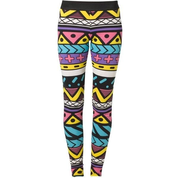 pants leggings colorful yellow pink purple white black lines geometric aztec