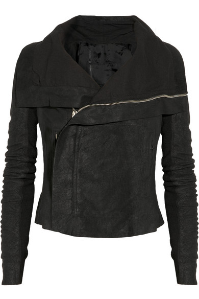 Rick Owens | Blister washed-leather biker jacket | NET-A-PORTER.COM
