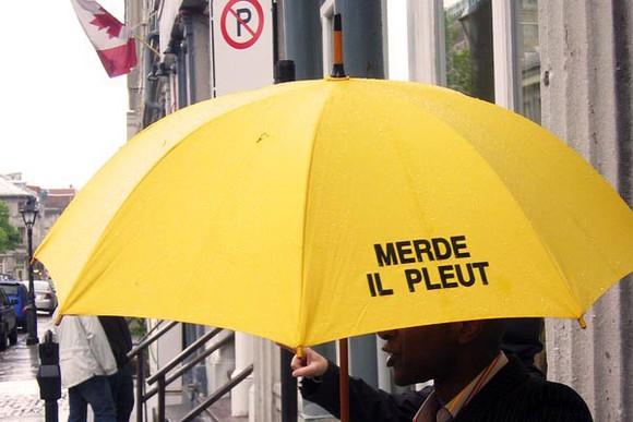 funny hair accessories parapluie pluie umbrella french merde yellow