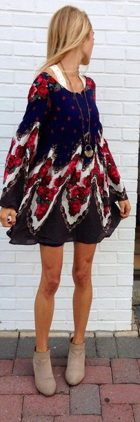 dress boho hipster colorful dressy casual patterned dress long sleeves pinterest babydoll grey long sleeves shoes indie flowy dress red floral dress fashion vintage dress cute dress clothes classy dress hippie short long sleeves floral babydoll dress