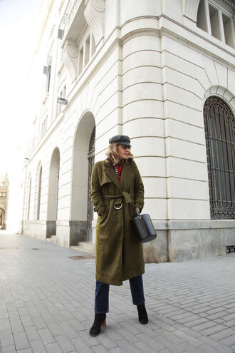 my daily style blogger coat jeans sweater scarf belt bag fisherman cap trench coat winter outfits