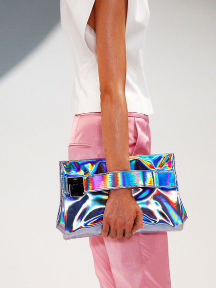 runway pink metallic bag handbag clitch rainbow awesome