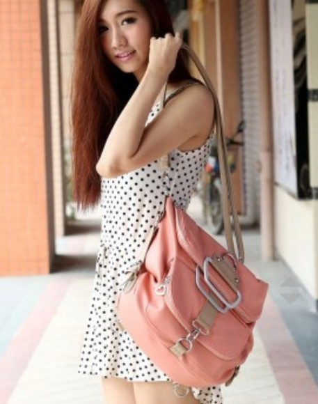 bag polka dots dress summer outfits polk summer dress style romper