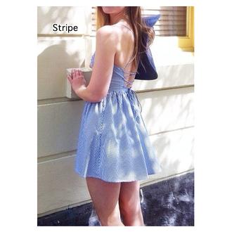 dress slip dress summer summer dress blue blue dress blue and white stripe backless backless dress striped dress