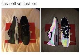 shoes reflective shoes nike flash on flash off black multicolor nike running shoes nike air air max running shoes nike shoes rainbow iridescent nike sneakers rainbow sneakers rainbow nike glow in the dark reflective nikes black nike shoes low top sneakers flash nike rainbow holographic