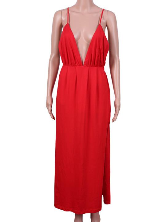 """""""stroke of lust"""" deep v neck red maxi dress – glamzelle"""