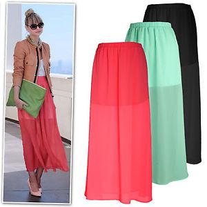 NEW Black Neon Peach Mint Half Sheer Chiffon Maxi Skirt AU 6 16 | eBay