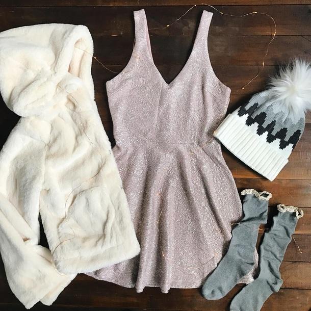 dress sparkle purple winter outfits
