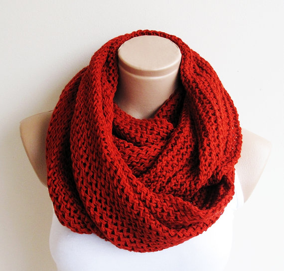 Orange chunky lnfinity knitted scarfsoft and warm by scarflovers