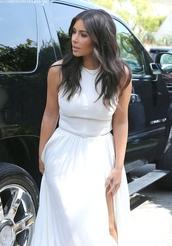 dress,kim kardashian,maxi dress,white maxi dress
