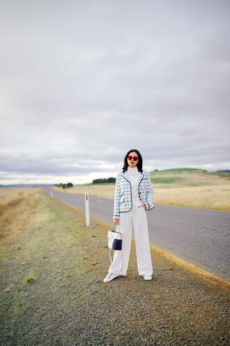 olivia lazuardy blogger sunglasses shirt bag shoes handbag white pants fall outfits