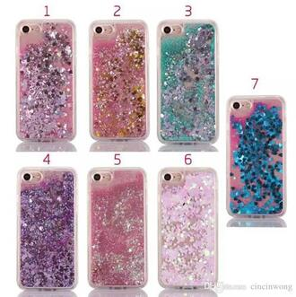 phone cover clear glitter pink blue gold silver purple