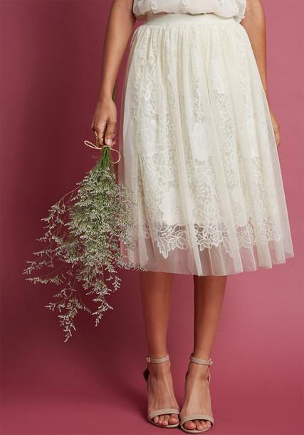 DB17060006 skirt chiffon high glamour sweet feminine lace flowers white
