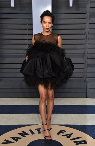 dress mini dress black dress little black dress zoe kravitz oscars 2018 sandals feathers shoes