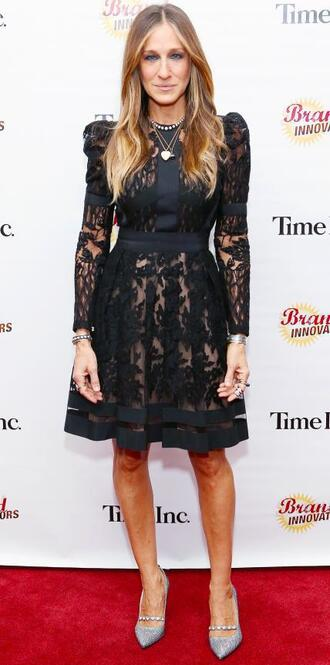 dress black dress lace lace dress sarah jessica parker pumps black