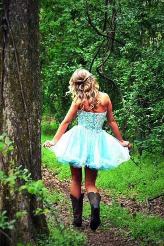 dress prom dress cowgirl boots cowgirl dress strapless dress blue dress shoes