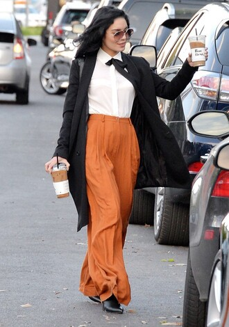 pants blouse coat sunglasses vanessa hudgens fall outfits