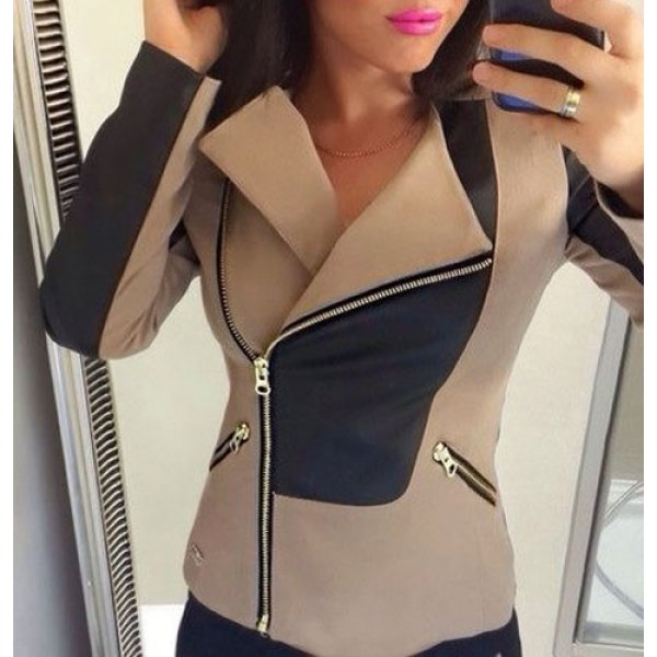 Stylish Turn-Down Collar Long Sleeve Color Block Slimming Jacket For Women