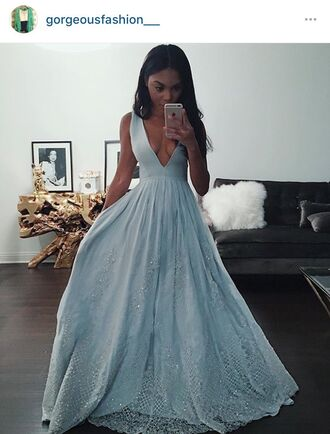 dress light blue deep v lace v neck dress black girls killin it prom dress blue dress prom gown blue prom dress cinderella prom