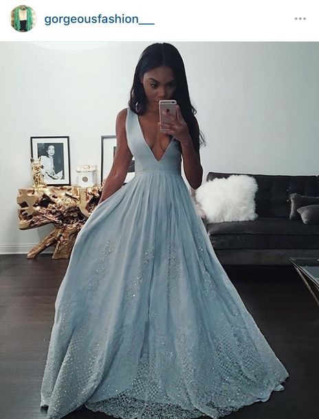 dress, light blue, deep v, lace, v neck dress, black girls killin it ...