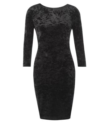 Black 3/4 Sleeve Velvet Dress