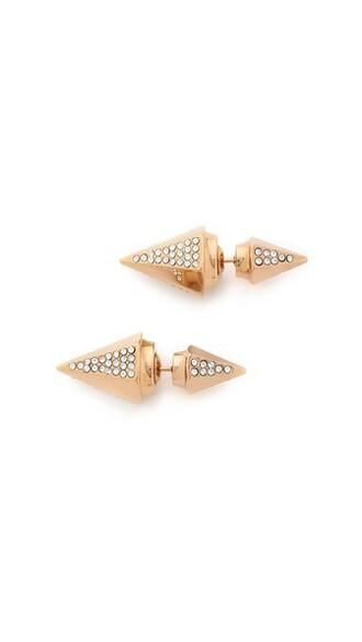 crystal earrings rose gold rose clear earrings gold jewels