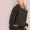 Lace up shoulder sweatshirt olive -shein(sheinside)