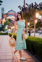 the bow-tie,blogger,dress,hat,bag,midi dress,sneakers,summer dress,summer outfits