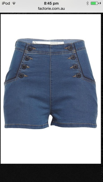 blue denim shorts with black buttons