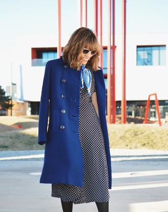 mysmallwardrobe blogger shoes dress coat scarf bag sunglasses jewels blue coat