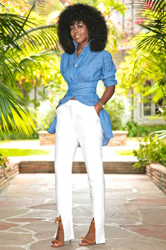 blogger shirt pants shoes asymmetric shirt blue shirt denim shirt white pants slit pants sandals sandal heels high heel sandals