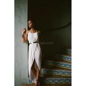 dress,greek dress,white dress,spaghetti strap,long dress,bangle belt,white long dress,white greek dress,wrap dress,white wrap dress