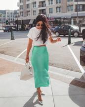 bag,handbag,white bag,midi skirt,flats,silk,crop tops,white top,sunglasses
