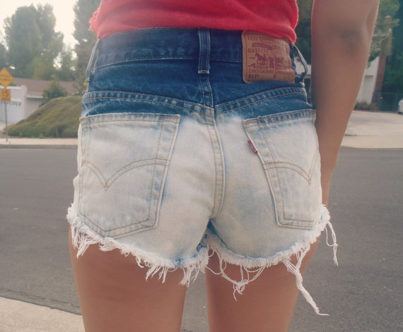 bleached High waisted denim shorts by NerdyYouth on Etsy