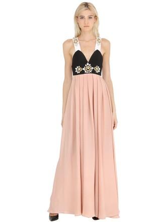 dress long dress long embellished pink