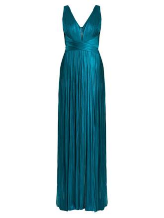 gown silk dark green dress