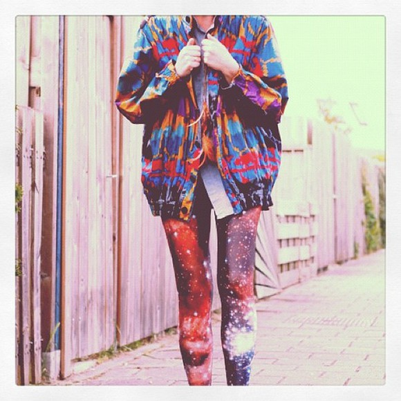 jacket demin cool amazing awesome must have gotta have it cardigan legging galaxy colourful tie dye red purple blue orange pants