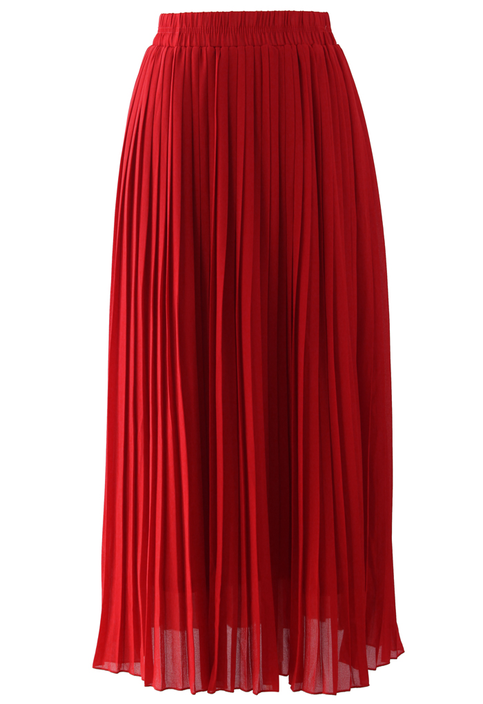 chiffon pleated maxi skirt in retro and