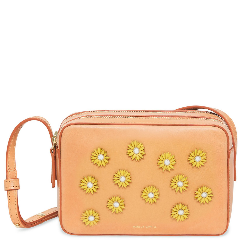 Mansur Gavriel Cammello Floral Embellished Double Zip Crossbody - Sun