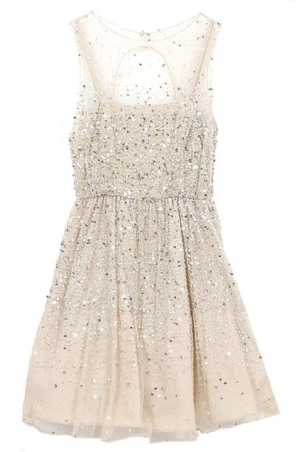 dress glitter light glitter dress pretty girly ball prom short silver beige