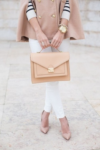 bag beige jacket fashion week 2014 cute girly fall outfits gold buttons old school bag vintage golden handbag jewels nude shoes high heels watch