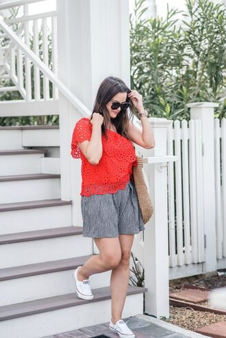 live more beautifully blogger shorts top jewels bag shoes sunglasses red top woven bag sneakers spring outfits