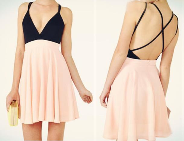 dress pink dress black dress summer dress crossback black pink rose