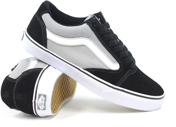 shoes light grey grey old back to school skool old skool old school vans trainers skateboard black white