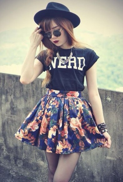 flowers floral cute skirt blue skirt