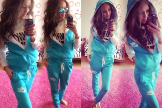 fashion style winter sweater jacket nike hoodie pants cute sportswear jumpsuit hood tracksuit tracksuit bottoms winter outfits sweatsuit longsleeve hoodie jacket turquoise lace nice